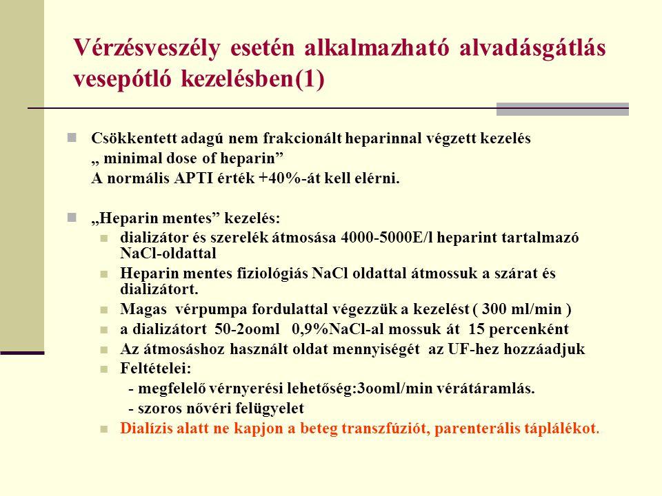 Vérzésveszély esetén alkalmazható alvadásgátlás vesepótló kezelésben(1)