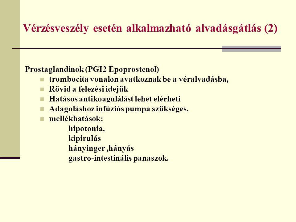 Vérzésveszély esetén alkalmazható alvadásgátlás (2)