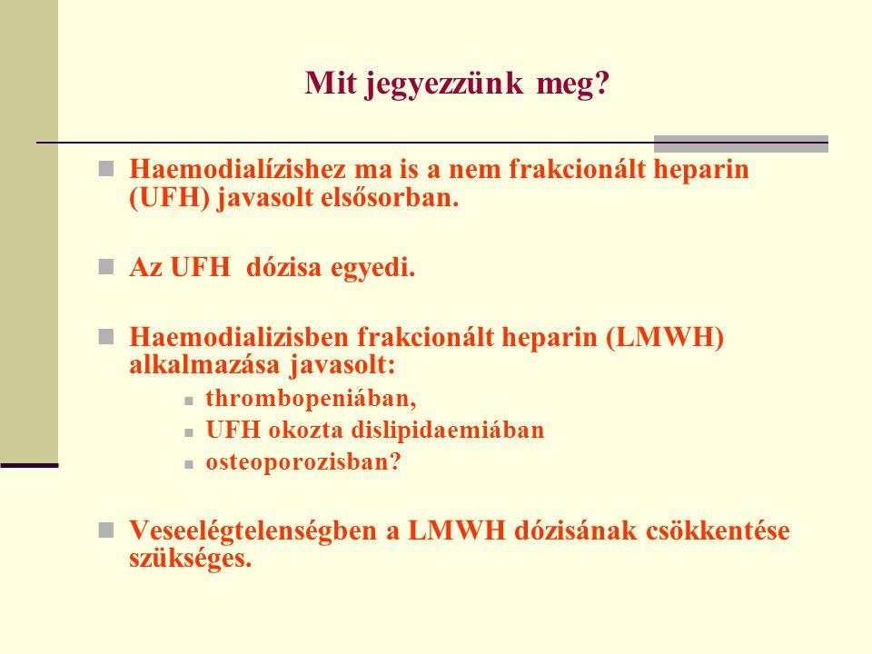 Mit jegyezzünk meg Haemodialízishez ma is a nem frakcionált heparin (UFH) javasolt elsősorban. Az UFH dózisa egyedi.
