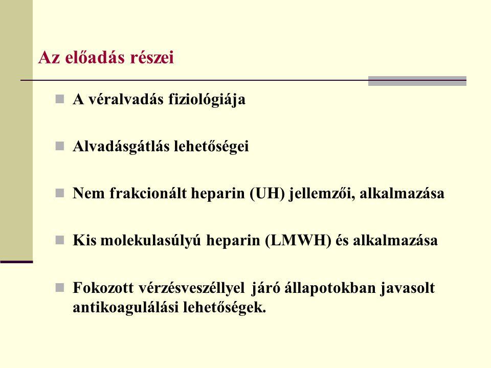 Az előadás részei A véralvadás fiziológiája Alvadásgátlás lehetőségei