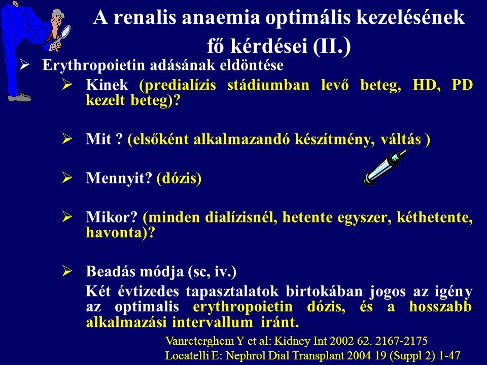 A renalis anaemia optimális kezelésének fő kérdései (II.)