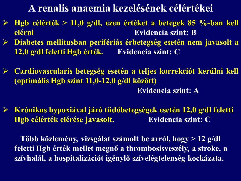 A renalis anaemia kezelésének célértékei