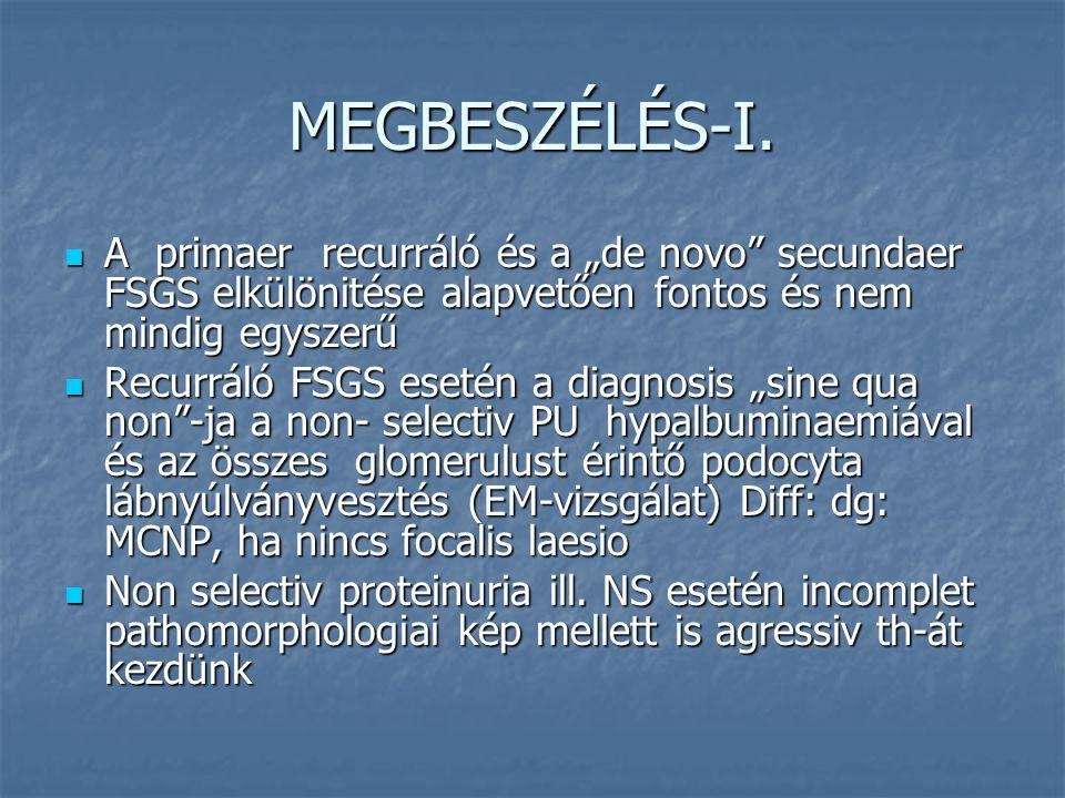 """MEGBESZÉLÉS-I. A primaer recurráló és a """"de novo secundaer FSGS elkülönitése alapvetően fontos és nem mindig egyszerű."""