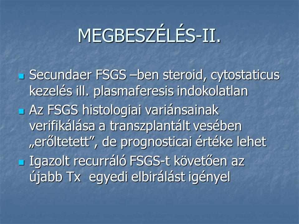 MEGBESZÉLÉS-II. Secundaer FSGS –ben steroid, cytostaticus kezelés ill. plasmaferesis indokolatlan.