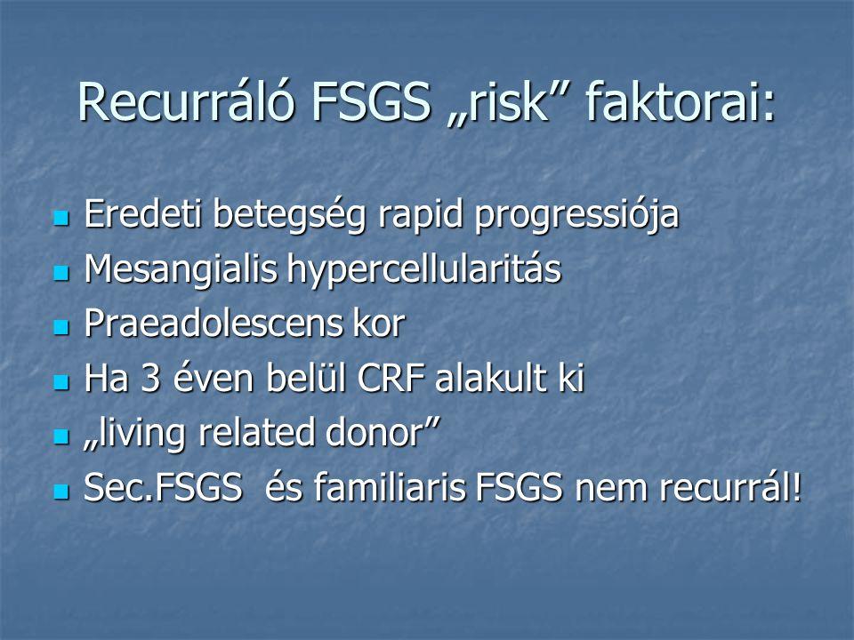 """Recurráló FSGS """"risk faktorai:"""