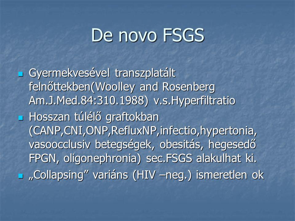 De novo FSGS Gyermekvesével transzplatált felnőttekben(Woolley and Rosenberg Am.J.Med.84:310.1988) v.s.Hyperfiltratio.