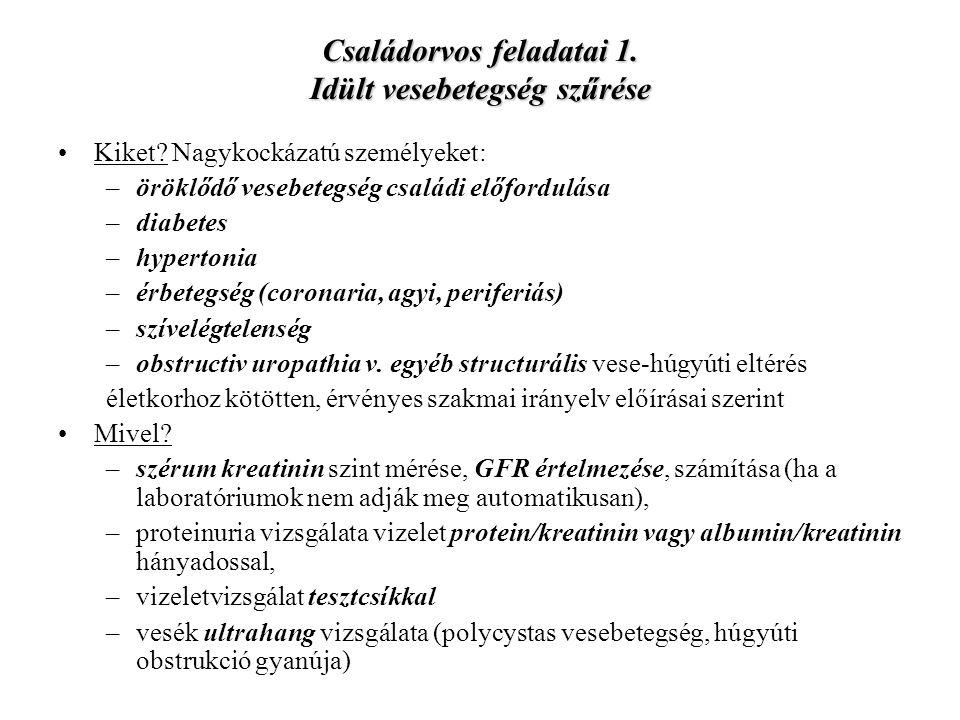 Családorvos feladatai 1. Idült vesebetegség szűrése