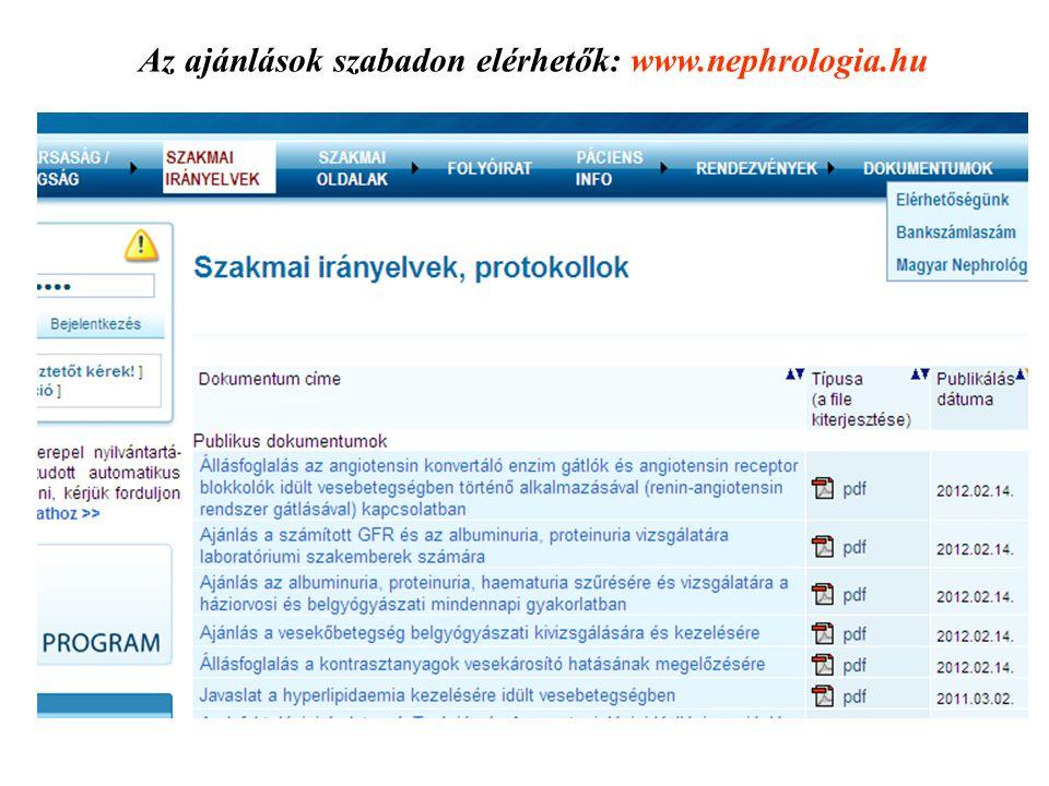 Az ajánlások szabadon elérhetők: www.nephrologia.hu