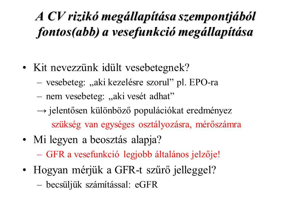 A CV rizikó megállapítása szempontjából fontos(abb) a vesefunkció megállapítása