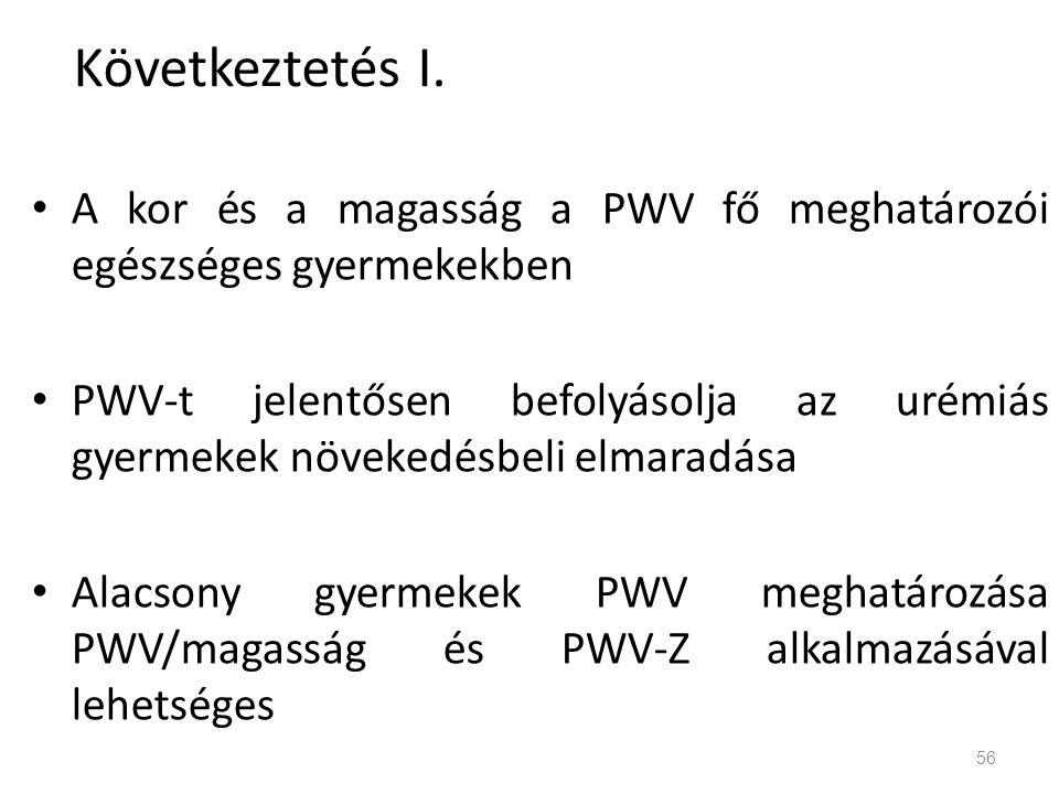 Következtetés I. A kor és a magasság a PWV fő meghatározói egészséges gyermekekben.