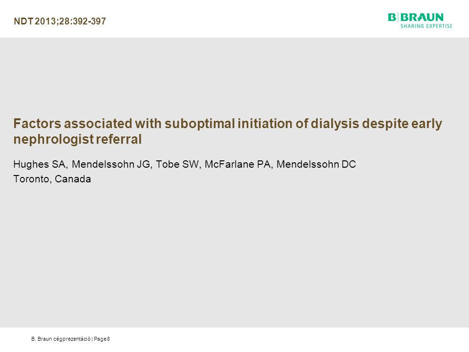 NDT 2013;28:392-397 Factors associated with suboptimal initiation of dialysis despite early nephrologist referral.