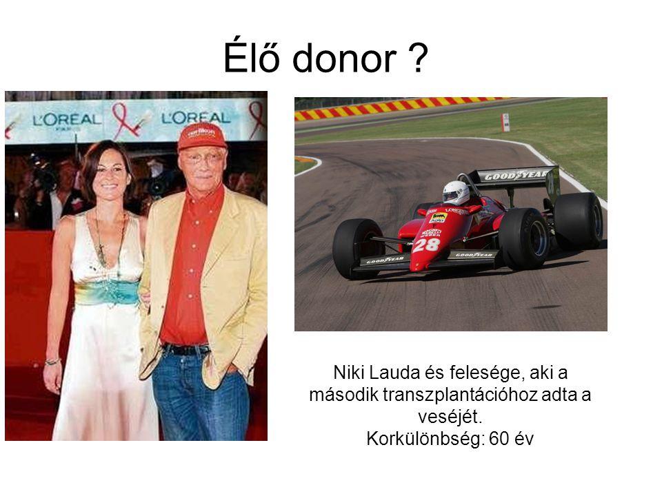 Élő donor . Niki Lauda és felesége, aki a második transzplantációhoz adta a veséjét.