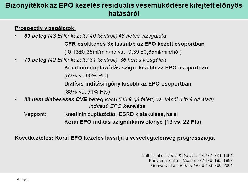 Bizonyítékok az EPO kezelés residualis veseműködésre kifejtett előnyös hatásáról