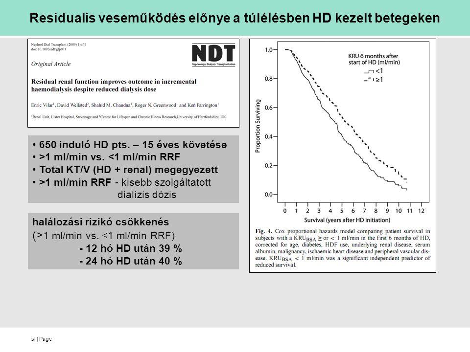 Residualis veseműködés előnye a túlélésben HD kezelt betegeken