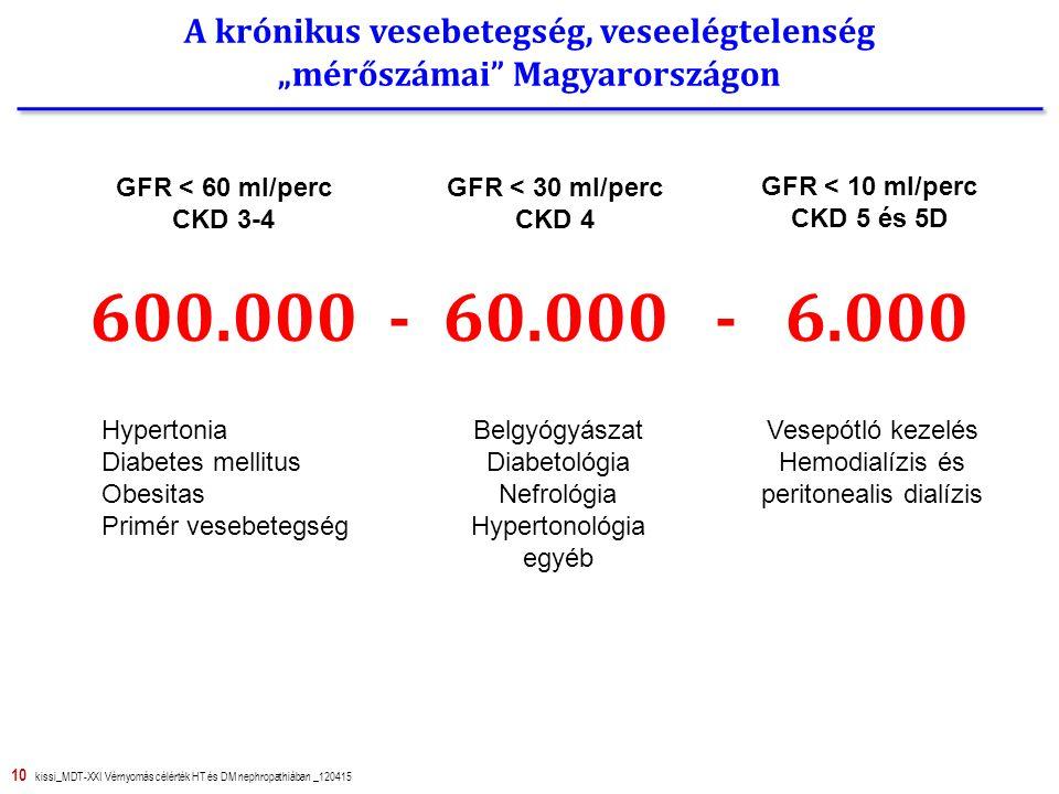"""A krónikus vesebetegség, veseelégtelenség """"mérőszámai Magyarországon"""