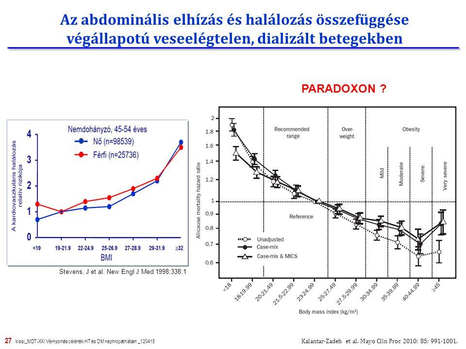 Az abdominális elhízás és halálozás összefüggése végállapotú veseelégtelen, dializált betegekben
