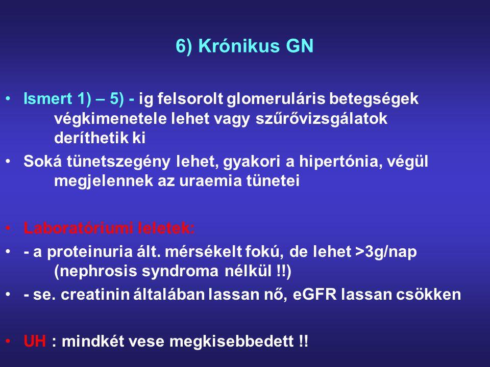 6) Krónikus GN Ismert 1) – 5) - ig felsorolt glomeruláris betegségek végkimenetele lehet vagy szűrővizsgálatok deríthetik ki.
