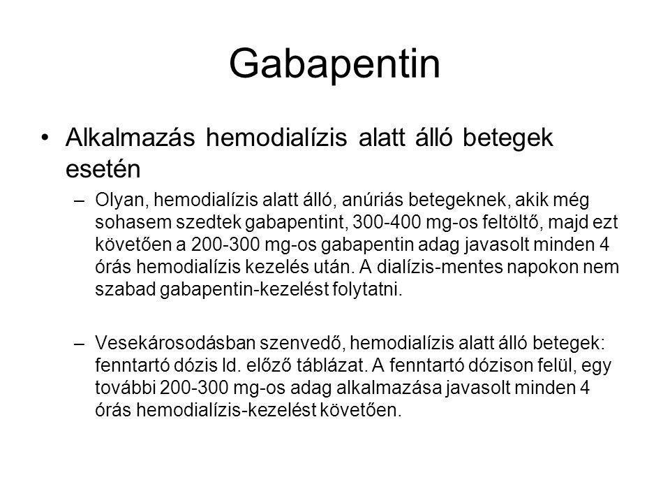 Gabapentin Alkalmazás hemodialízis alatt álló betegek esetén