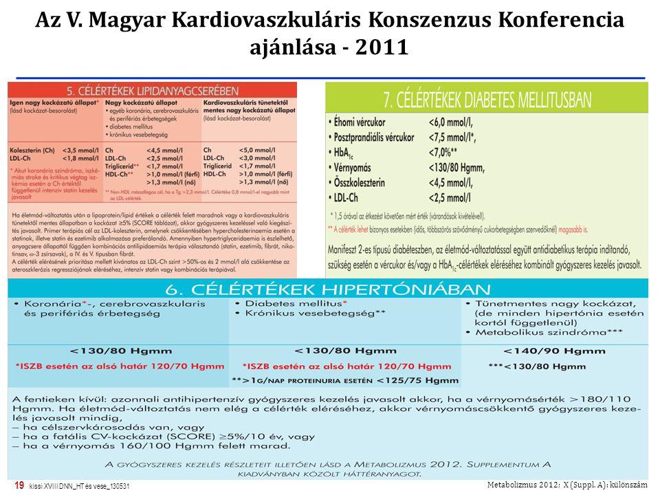 Az V. Magyar Kardiovaszkuláris Konszenzus Konferencia ajánlása - 2011