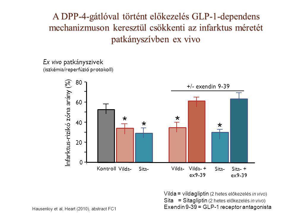 A DPP-4-gátlóval történt előkezelés GLP-1-dependens mechanizmuson keresztül csökkenti az infarktus méretét patkányszívben ex vivo