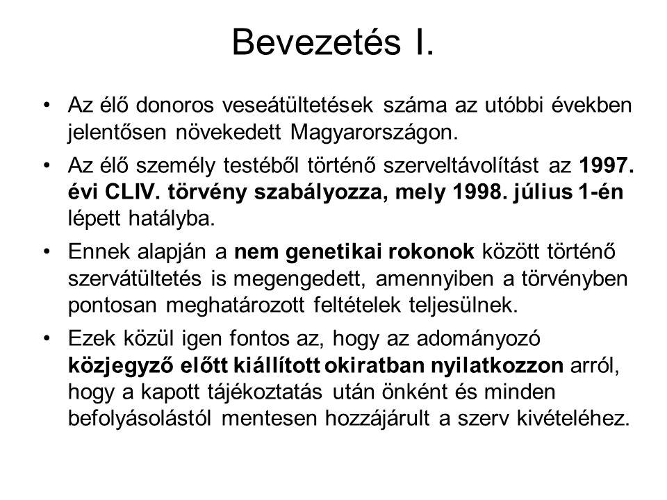 Bevezetés I. Az élő donoros veseátültetések száma az utóbbi években jelentősen növekedett Magyarországon.