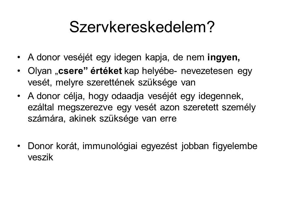 Szervkereskedelem A donor veséjét egy idegen kapja, de nem ingyen,