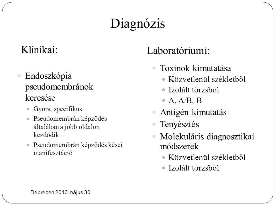 Diagnózis Laboratóriumi: Klinikai: Toxinok kimutatása