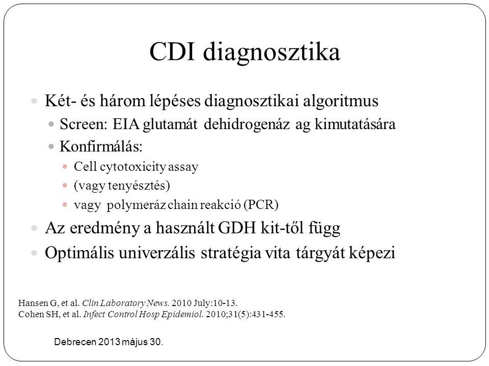 CDI diagnosztika Két- és három lépéses diagnosztikai algoritmus