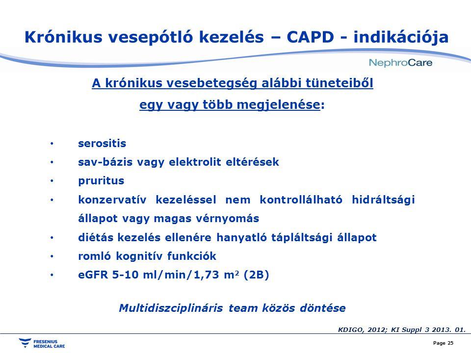 Krónikus vesepótló kezelés – CAPD - indikációja
