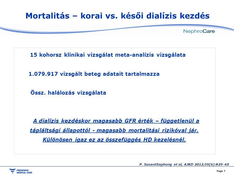 Mortalitás – korai vs. késői dialízis kezdés