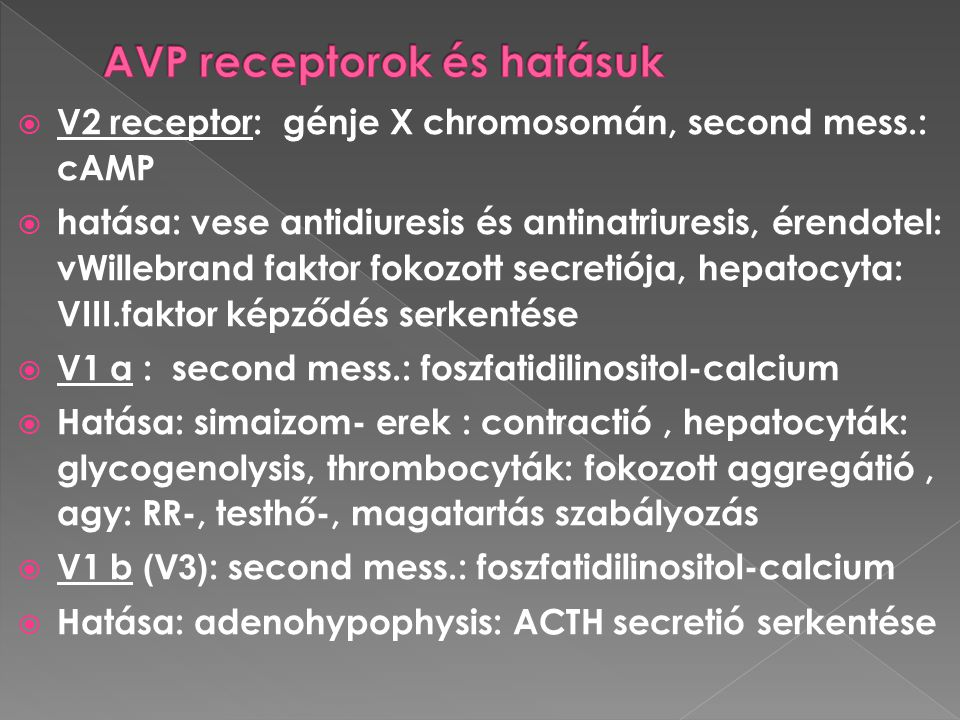 AVP receptorok és hatásuk