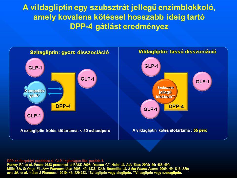 Szitagliptin: gyors disszociáció Vildagliptin: lassú disszociáció