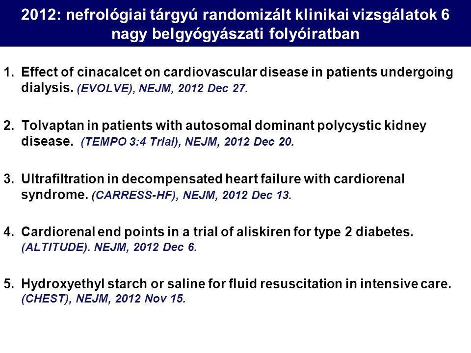 2012: nefrológiai tárgyú randomizált klinikai vizsgálatok 6 nagy belgyógyászati folyóiratban