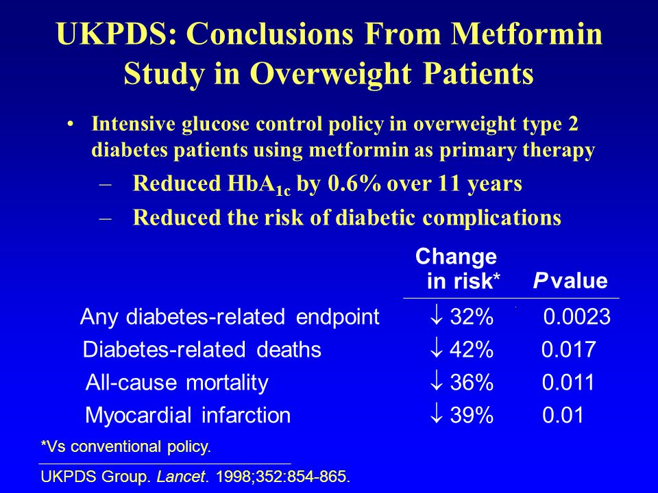 UKPDS: Conclusions From Metformin Study in Overweight Patients