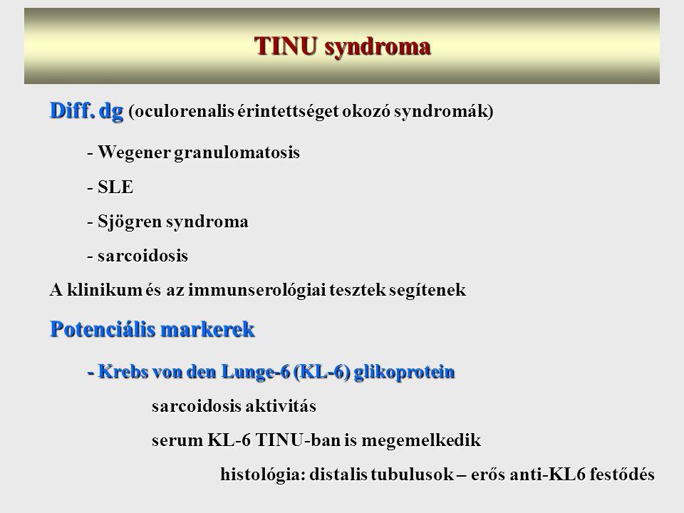 TINU syndroma Diff. dg (oculorenalis érintettséget okozó syndromák)