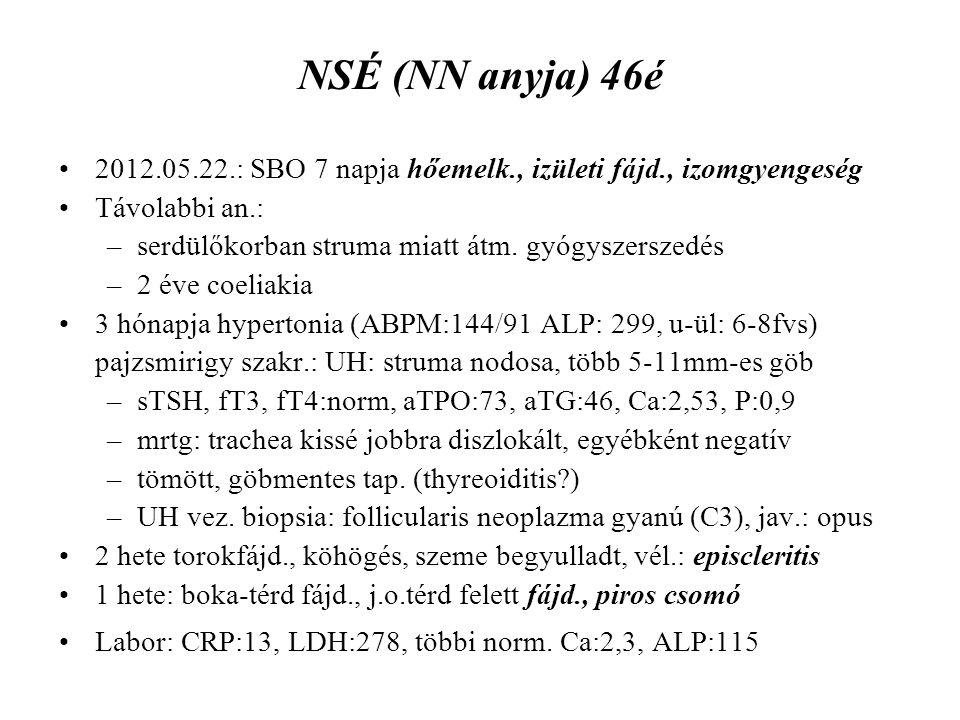 NSÉ (NN anyja) 46é 2012.05.22.: SBO 7 napja hőemelk., izületi fájd., izomgyengeség. Távolabbi an.: