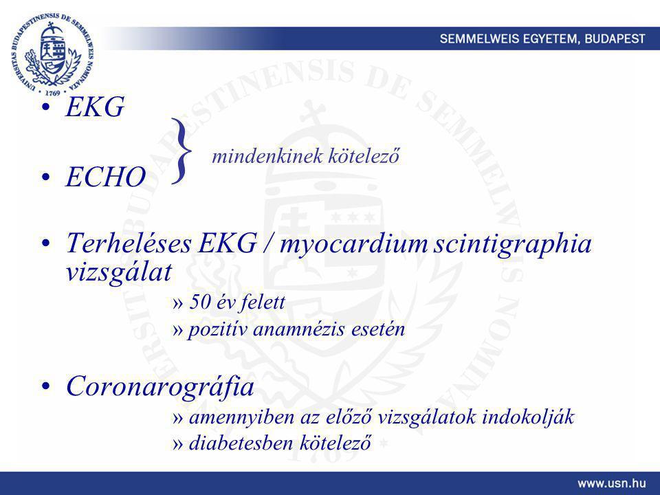 } EKG ECHO Terheléses EKG / myocardium scintigraphia vizsgálat