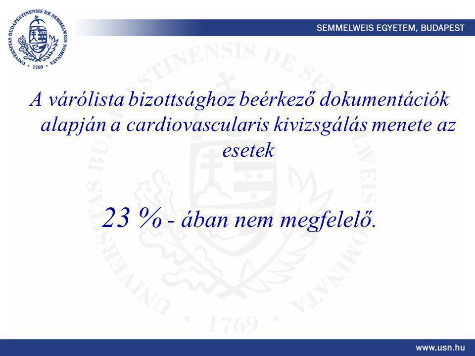 A várólista bizottsághoz beérkező dokumentációk alapján a cardiovascularis kivizsgálás menete az esetek