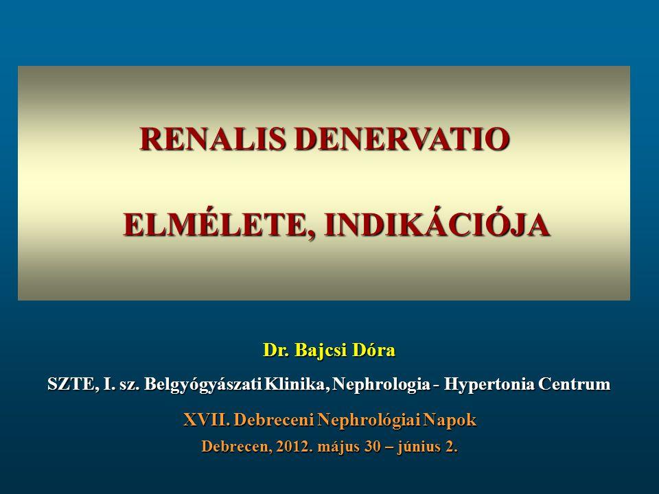 RENALIS DENERVATIO ELMÉLETE, INDIKÁCIÓJA Dr. Bajcsi Dóra