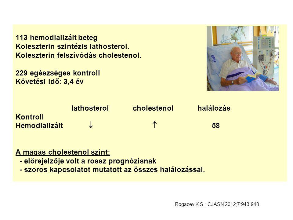 113 hemodializált beteg Koleszterin szintézis lathosterol
