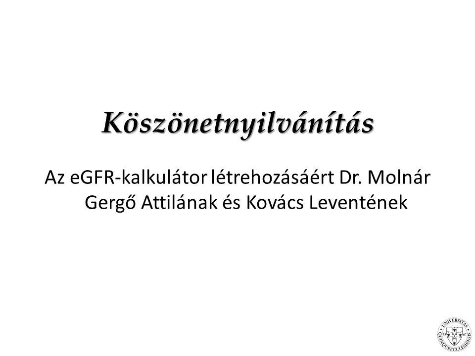 Köszönetnyilvánítás Az eGFR-kalkulátor létrehozásáért Dr.