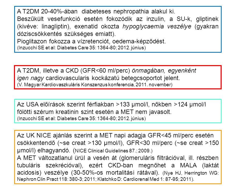 A T2DM 20-40%-ában diabeteses nephropathia alakul ki.