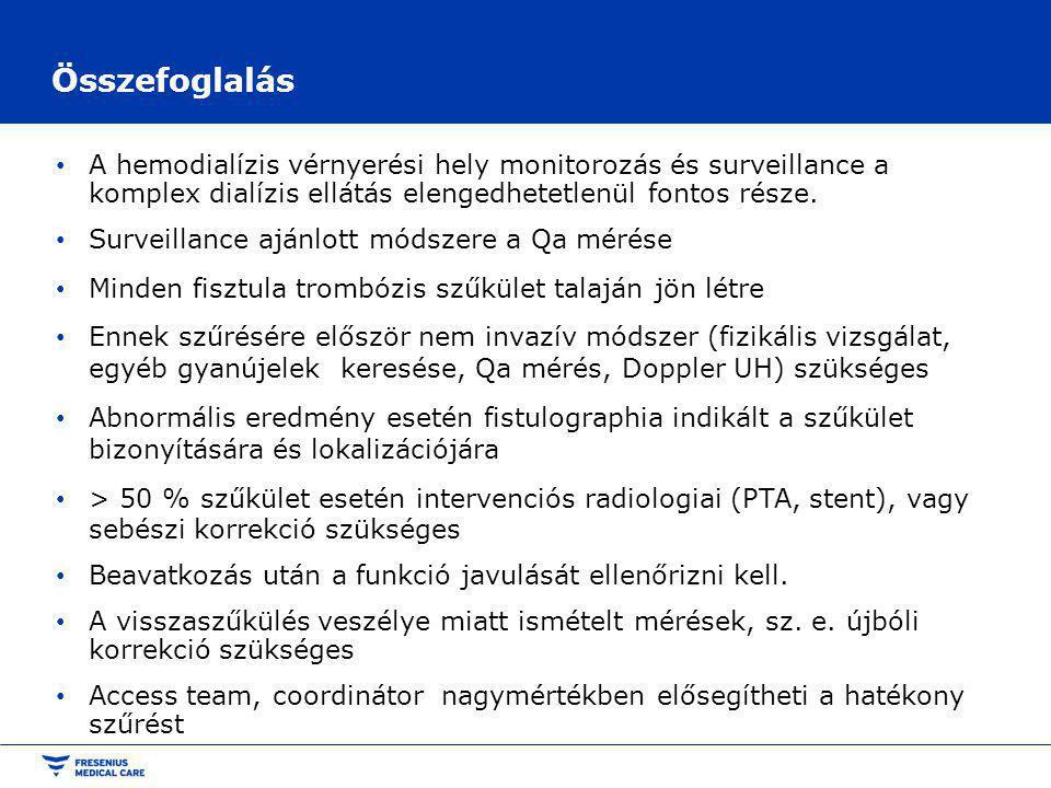 Összefoglalás A hemodialízis vérnyerési hely monitorozás és surveillance a komplex dialízis ellátás elengedhetetlenül fontos része.