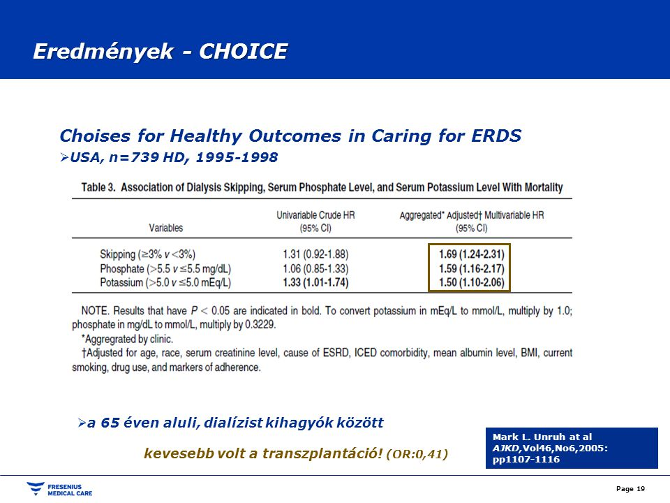Eredmények - CHOICE Choises for Healthy Outcomes in Caring for ERDS