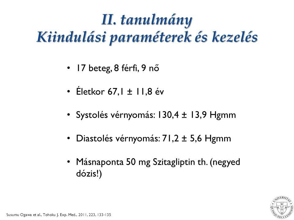 II. tanulmány Kiindulási paraméterek és kezelés