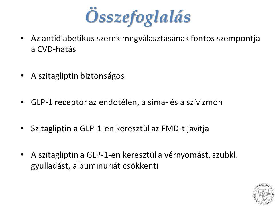Összefoglalás Az antidiabetikus szerek megválasztásának fontos szempontja a CVD-hatás. A szitagliptin biztonságos.