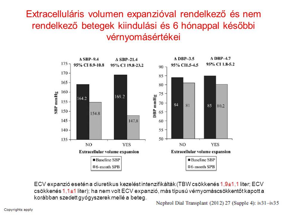 Extracelluláris volumen expanzióval rendelkező és nem rendelkező betegek kiindulási és 6 hónappal későbbi vérnyomásértékei