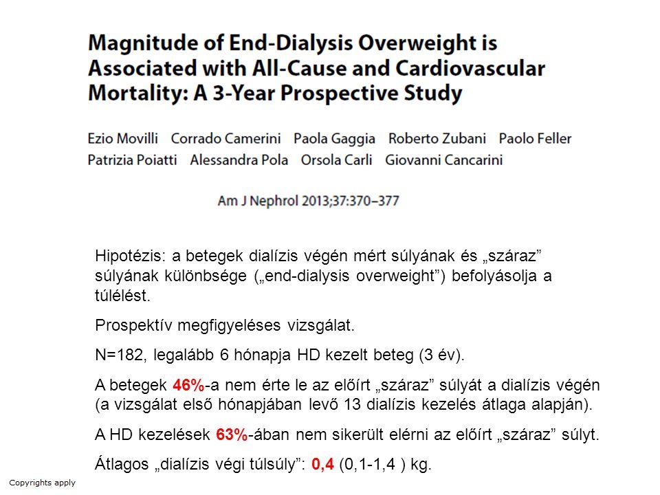 """Hipotézis: a betegek dialízis végén mért súlyának és """"száraz súlyának különbsége (""""end-dialysis overweight ) befolyásolja a túlélést."""
