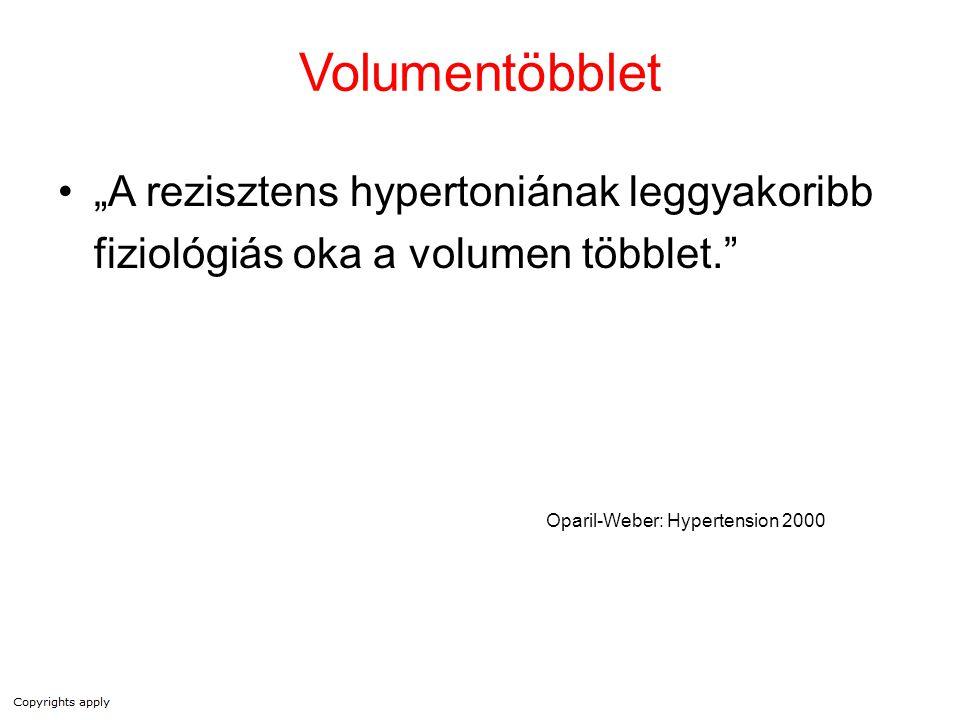 """Volumentöbblet """"A rezisztens hypertoniának leggyakoribb fiziológiás oka a volumen többlet. Oparil-Weber: Hypertension 2000."""
