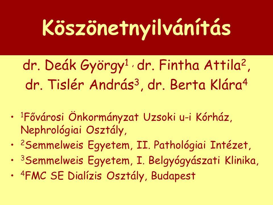 Köszönetnyilvánítás dr. Deák György1 , dr. Fintha Attila2,